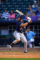 San Antonio Missions first baseman Luis Domoromo (7) at bat during a game against the NW Arkansas Naturals on May 30, 2015 at Arvest Ballpark in Springdale, Arkansas.  San Antonio defeated NW Arkansas 5-2.  (Mike Janes/Four Seam Images)