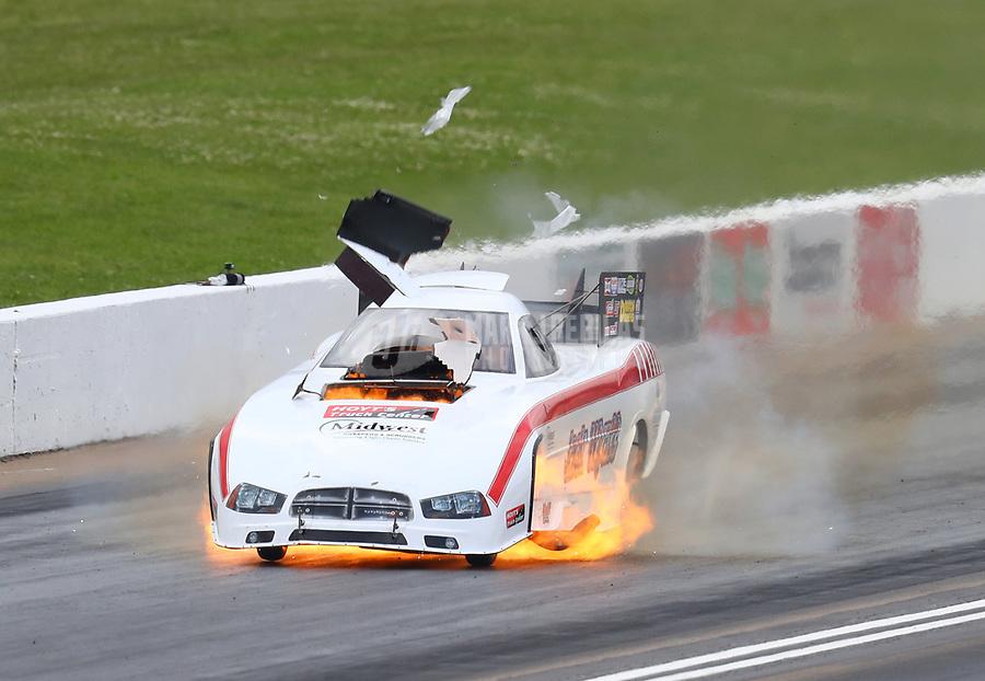 May 20, 2017; Topeka, KS, USA; NHRA funny car driver Jack Wyatt explodes an engine during qualifying for the Heartland Nationals at Heartland Park Topeka. Mandatory Credit: Mark J. Rebilas-USA TODAY Sports