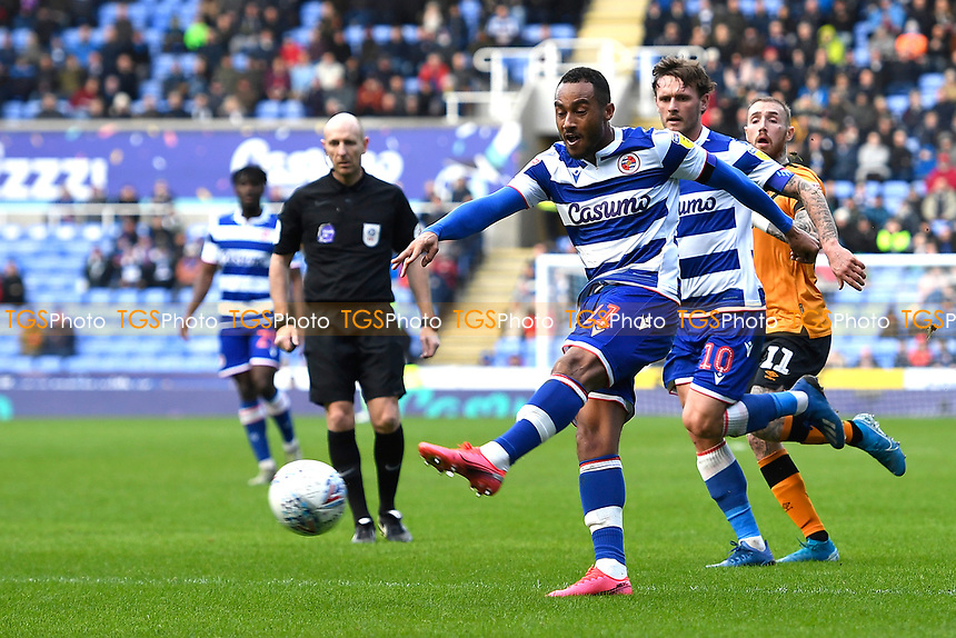 Jordan Obita of Reading has a shot on goal during Reading vs Hull City, Sky Bet EFL Championship Football at the Madejski Stadium on 8th February 2020