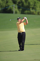 Patrick Reed (USA) on the 1st fairway during the preview for the DP World Tour Championship at the Earth course,  Jumeirah Golf Estates in Dubai, UAE,  18/11/2015.<br /> Picture: Golffile | Thos Caffrey<br /> <br /> All photo usage must carry mandatory copyright credit (© Golffile | Thos Caffrey)