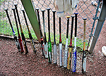 12 June 2011: A sets of bats line the dugout fence as the Burlington American Athletics win the South End Little League championship game defeating the BA Expos 6-3 at Calahan Park in Burlington, Vermont. Mandatory Credit: Ed Wolfstein Photo