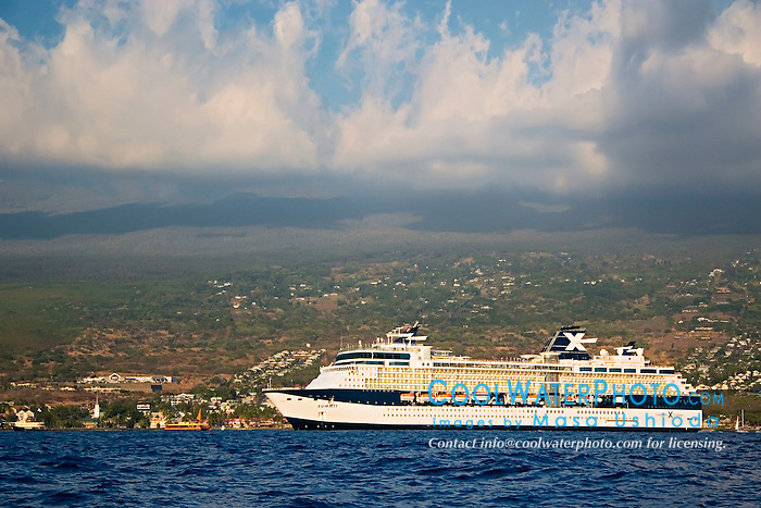 Celebrity Cruises' ship, Summit, anchoraged in Kailua Bay, Kailua Kona, Big Island, Hawaii, Pacific Ocean