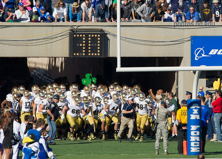 Oct. 26, 2013; The Irish take the field against Air Force.