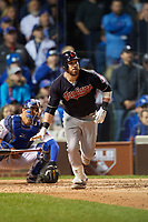Cleveland Indians Jason Kipnis (22) hits a home run in the seventh inning during Game 4 of the Major League Baseball World Series against the Chicago Cubs on October 29, 2016 at Wrigley Field in Chicago, Illinois.  (Mike Janes/Four Seam Images)
