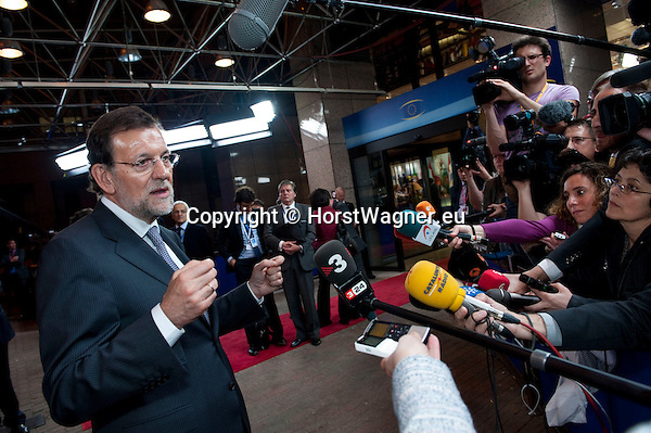 Brussels-Belgium - May 24, 2012 -- European Council, informal EU-summit meeting by Heads of State / Government; here, Mariano RAJOY BREY, Prime Minister of Spain, addressing the media in the early hours of the next day while leaving the EU-Council building after a long meeting -- Photo: © HorstWagner.eu