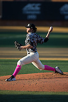 Wake Forest Demon Deacons starting pitcher Matt Pirro (1) delivers a pitch to the plate against the Virginia Tech Hokies in game two of a doubleheader at Wake Forest Baseball Park on March 7, 2015 in Winston-Salem, North Carolina.  (Brian Westerholt/Four Seam Images)