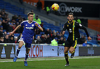 Craig Noone of Cardiff City is closely marked by Mitchell Dijks of Norwich City during the Sky Bet Championship match between Cardiff City and Norwich City at Cardiff City Stadium, Wales, UK. Saturday, 04 February 2017
