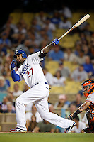 Matt Kemp #27 of the Los Angeles Dodgers bats against the San Francisco Giants at Dodger Stadium on October 02, 2012 in Los Angeles, California. San Francisco defeated Los Angeles 4-3. (Larry Goren/Four Seam Images)