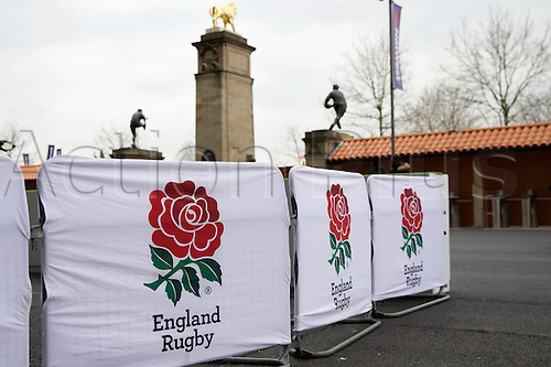 27.02.2016. Twickenham, London, England. RBS Six Nations Championships. England versus Ireland. Banners and barriers all quiet before the fans arrive.