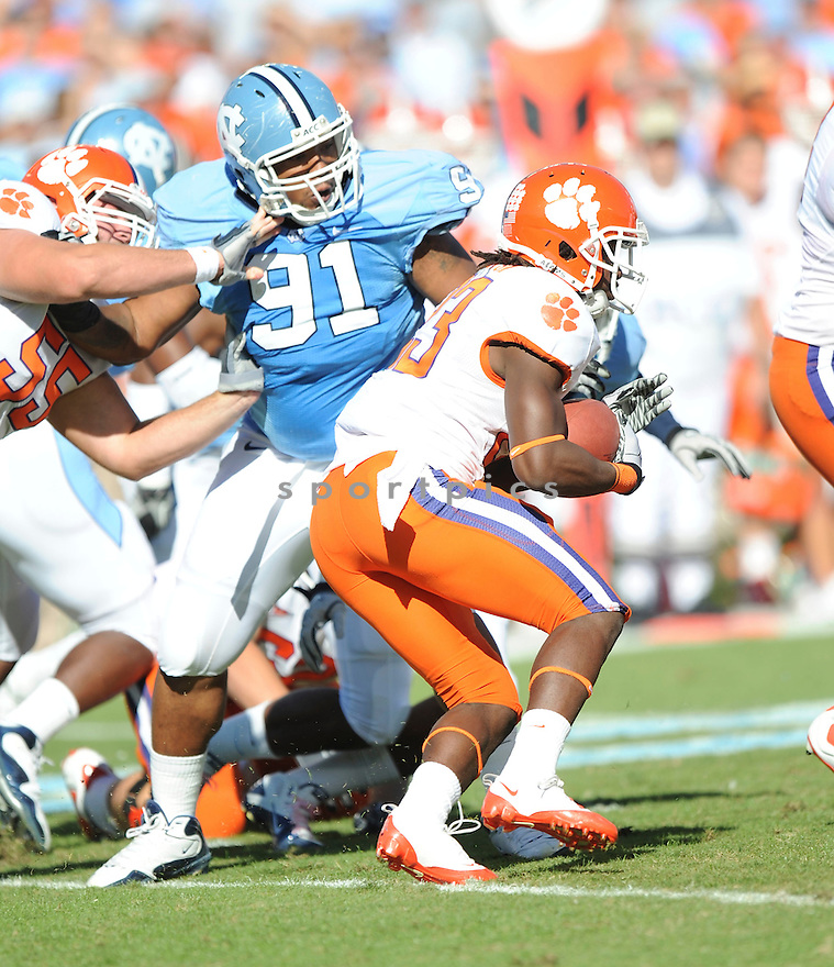 TYDREKE POWELL, of the North Carolina Tarheels, in action during the North Carolina Tarheels game against the Clemson Tigers at Kenan Stadium on October 09, 2010  in Chapel Hill, NC..North Carolina 21 beats Clemson 16.