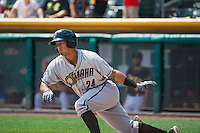 Cheslor Cuthbert (24) of the Omaha Storm Chasers at bat against the Salt Lake Bees in Pacific Coast League action at Smith's Ballpark on August 16, 2015 in Salt Lake City, Utah.Omaha defeated Salt Lake 11-4.  (Stephen Smith/Four Seam Images)