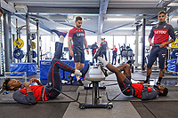Tammy Abraham (L) and Nathan Dyer (R) exercise in the gym during the Swansea City Training at The Fairwood Training Ground, near Swansea, Wales, UK. Wednesday, 11 April 2018
