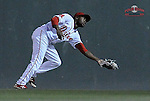 Center fielder Manuel Margot of the Greenville Drive makes a fingertips catch in a game against the Kannapolis Intimidators on Thursday, April 10, 2014, at Fluor Field at the West End in Greenville, South Carolina. (Tom Priddy/Four Seam Images)