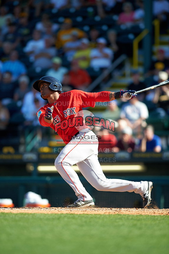 Boston Red Sox center fielder Joseph Monge (39) at bat during a Spring Training game against the Pittsburgh Pirates on March 9, 2016 at McKechnie Field in Bradenton, Florida.  Boston defeated Pittsburgh 6-2.  (Mike Janes/Four Seam Images)