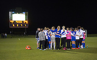 Boyds, MD - April 16, 2016: Boston Breakers huddle. The Washington Spirit defeated the Boston Breakers 1-0 during their National Women's Soccer League (NWSL) match at the Maryland SoccerPlex.