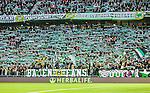 Stockholm 2014-04-14 Fotboll Superettan Hammarby IF - Degerfors IF :  <br /> Hammarbys supportrar med halsdukar och halsdukshav p&aring; l&auml;ktaren under matchen<br /> (Foto: Kenta J&ouml;nsson) Nyckelord:  HIF Bajen Degerfors  supporter fans publik supporters