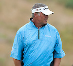 Darren Clarke glances at the putt he has left at the 9th hole during the pro-am ahead of the Barclays Scottish Open, played over the links at Castle Stuart, Inverness, Scotland from 7th to 10th July 2011:  Picture Stuart Adams /www.golffile.ie 6th July 2011