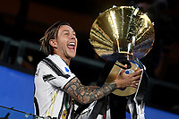 Federico Bernardeschi of Juventus celebrates the victory of the italian championship at the end of the Serie A football match between Juventus FC and AS Roma at Juventus stadium in Turin (Italy), August 1st, 2020. Play resumes behind closed doors following the outbreak of the coronavirus disease. Photo Andrea Staccioli / Insidefoto