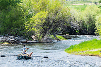 Fly-fishermen drifting the Big Hole River in Western Montana