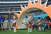 1st October 2017, Wembley Stadium, London, England; NFL International Series, Game Two; Miami Dolphins versus New Orleans Saints; Miami Dolphins cheerleaders enter Wembley Stadium