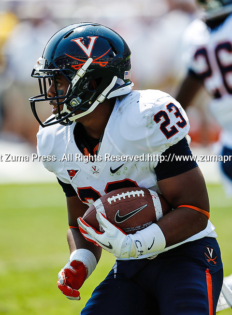 Virginia Cavaliers running back Khalek Shepherd (23) in action during the game between the Virginia Cavaliers and the TCU Horned Frogs  at the Amon G. Carter Stadium in Fort Worth, Texas. TCU defeats Virginia 27 to 7...