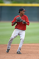 Arizona Diamondbacks shortstop Sergio Alcantara (1) during an Instructional League game against the Los Angeles Angels on October 7, 2014 at Salt River Fields at Talking Stick in Scottsdale, Arizona.  (Mike Janes/Four Seam Images)