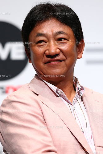 Japanese baseball commentator Yasushi Tao attends the SoftBank's new TV commercial press conference in Tokyo, Japan on June 16, 2016. (Photo by Shingo Ito/AFLO)