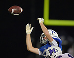 Columbia's Jackson Holmes narrowly misses a pass. Columbia played Mascoutah on Saturday August 31, 2019 in a football game that was never started on Friday night due to bad storms.<br /> Tim Vizer/Special to STLhighschoolsports.com