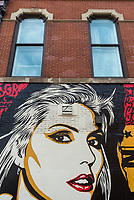 "New York, USA. 23rd Aug, 2017. Detail of a new Shepard Fairey mural in the East Village. The mural features Debbie Harry, lead singer for the rock group Blondie, who got their start in 1979 at CBGB which was located across the street. Fairy's work is also featured in Blondie's latest album ""Polinator"" which was released in May 2017 Credit: Stacy Walsh Rosenstock/Alamy Live News"
