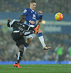Ngolo Kante of Leicester City is challenged by Gerard Deulofeu of Everton<br /> - Barclays Premier League - Everton vs Leicester City - Goodison Park - Liverpool - England - 19th December 2015 - Pic Robin Parker/Sportimage
