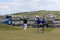Guido Migliozzi (ITA) and Jimmy Nesbitt (AM) walking down the 2nd during the Pro-Am of the Irish Open at LaHinch Golf Club, LaHinch, Co. Clare on Wednesday 3rd July 2019.<br />
