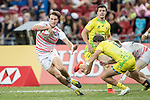 John Porch of Australia (right) tries to stop Harry Glover of England, who runs with the ball during the match Australia vs England, the Bronze Final of Day 2 of the HSBC Singapore Rugby Sevens as part of the World Rugby HSBC World Rugby Sevens Series 2016-17 at the National Stadium on 16 April 2017 in Singapore. Photo by Victor Fraile / Power Sport Images