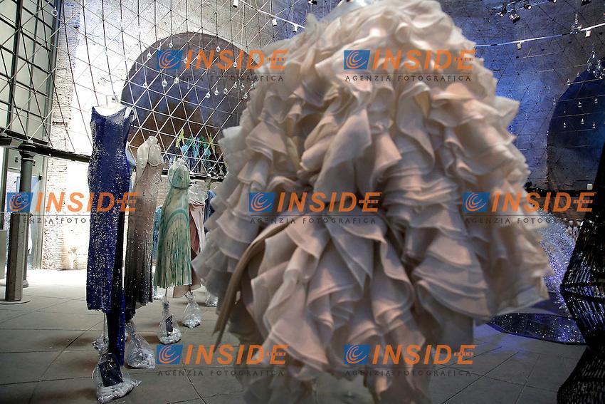 Enrico Coveri, Roberto Cavalli, Laura Biagiotti e Gianfranco Ferre'<br /> Roma 03-04-2016 Terme di Diocleziano. Mostra 'In Acqua: H2O molecole di creativita'. Decine di stilisti hanno creato, per l'occasione, abiti, accessori e gioielli che richiamano l'acqua.<br /> Diocleziano Thermae. Exhibition 'In water: H2O molecules of creativity'.Tens of famous stylists created dresses, accessories and jewels that recall water.<br /> Photo Samantha Zucchi Insidefoto