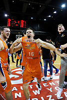 Conor Morgan (Sharks) celebrates winning the national basketball league final  between Wellington Saints and Southland Sharks at TSB Bank Arena in Wellington, New Zealand on Sunday, 5 August 2018. Photo: Dave Lintott / lintottphoto.co.nz