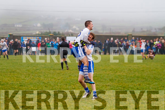 Nial O'Driscoll & Daniel Daly celebrate as the final whistle is blown in the 2017 South Kerry Final giving St Marys that elusive 4 in a row for only the second time.