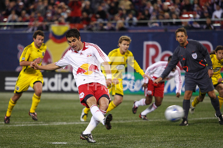 New York Red Bulls forward Juan Pablo Angel (9) takes a penalty kick. The New York Red Bulls defeated the Columbus Crew 2-0 during a Major League Soccer match at Giants Stadium in East Rutherford, NJ, on April 5, 2008.