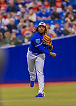 26 March 2018: Toronto Blue Jays third baseman Vladimir Guerrero Jr. gets the first out in the 8th inning of a pre-season exhibition game against the St. Louis Cardinals at Olympic Stadium in Montreal, Quebec, Canada. The Cardinals defeated the Blue Jays 5-3 in the first of two MLB Grapefruit League games, in which Guerrero Jr. made his first appearance since childhood at the former home on the Montreal Expos. Mandatory Credit: Ed Wolfstein Photo *** RAW (NEF) Image File Available ***