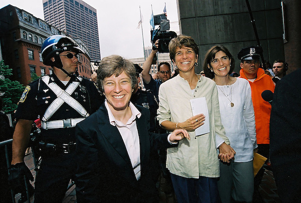 Gay Marriage Becomes Legal in Massachusetts-Mary Bonauto Attorney  with Gay and Lesbian Advocates and Defenders with lead plaintiff Hillary Goodridge holding her legal marriage license and her partner Julie Goodridge's hand leaving Boston City Hall Boston MA May 17, 2004