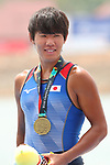 Yuta Takano (JPN), <br /> AUGUST 23, 2018 - Rowing : <br /> Men's pair  Medal ceremony <br /> at Jakabaring Sport Center Lake <br /> during the 2018 Jakarta Palembang Asian Games <br /> in Palembang, Indonesia. <br /> (Photo by Yohei Osada/AFLO SPORT)