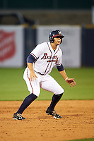 Mississippi Braves first baseman Seth Loman (22) leads off second during a game against the Pensacola Blue Wahoos on May 27, 2015 at Trustmark Park in Pearl, Mississippi.  Pensacola defeated Mississippi 7-5 in fourteen innings.  (Mike Janes/Four Seam Images)