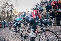 Tim Wellens (BEL/Lotto-Soudal) up the infamous Kapelmuur<br /> <br /> Omloop Het Nieuwsblad 2018<br /> Gent › Meerbeke: 196km (BELGIUM)