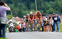 13 JUN 2010 - BEAUVAIS, FRA - Frederic Belaubre and Sylvain Sudrie of Beauvais Triathlon Club head the lead pack on the bike during the French Grand Prix triathlon series round .(PHOTO (C) NIGEL FARROW)