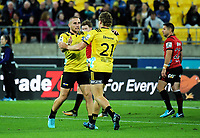 TJ Perenara is substituted by Richard Judd (21) during the Super Rugby match between the Hurricanes and Crusaders at Westpac Stadium in Wellington, New Zealand on Saturday, 10 March 2018. Photo: Dave Lintott / lintottphoto.co.nz