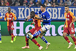 06.11.2018, Veltins-Arena, Gelsenkirchen, GER, CL, FC Schalke 04 vs Galatasaray Istanbul, DFL regulations prohibit any use of photographs as image sequences and/or quasi-video <br /> <br /> im Bild v. li. im Zweikampf Papa NDiaye (#17, Galatasaray) Mark Uth (#7, FC Schalke 04) <br /> <br /> Foto &copy; nordphoto/Mauelshagen