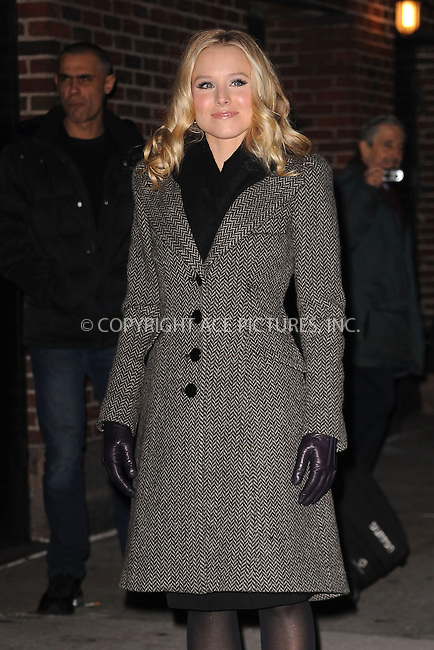 WWW.ACEPIXS.COM . . . . . ....January 18  2010, New York City....Actress Kristen Bell made an appearance at the 'Late Show With David Letterman' at the Ed Sullivan Theater on January 18, 2010 in New York City. ....Please byline: KRISTIN CALLAHAN - ACEPIXS.COM.. . . . . . ..Ace Pictures, Inc:  ..(212) 243-8787 or (646) 679 0430..e-mail: picturedesk@acepixs.com..web: http://www.acepixs.com