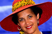 Portrait of Mexican american lady with a reed hat in New Orleans, Louisiana, USA