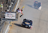 May 30, 2008; Dover, DE, USA; Nascar Craftsman Truck Series driver Kyle Busch is blacked flagged after he blew a transmission while leading during the AAA Insurance 200 at Dover International Speedway. Mandatory Credit: Mark J. Rebilas-US PRESSWIRE.