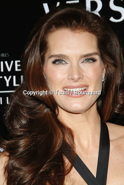 Brooke Shields arriving at the WALK OF STYLE Awards to Versace at the City Hall in Beverly Hills.<br /> <br /> headshot<br /> smile<br /> eye contact
