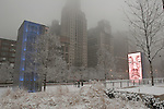 .CHICAGO, USA, MARCH 5, 2006 : Crown Fountain by spanish artist Jaume Plenza lights up Chicago's Millenium Park on a snowy winter day.  (Photo by Jean-Marc Giboux)