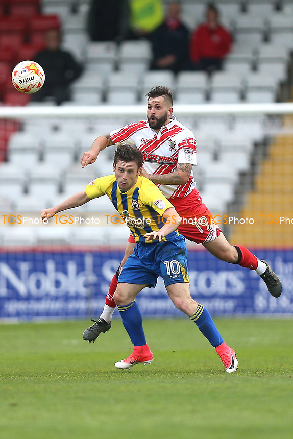 Dean Wells of Stevenage rises above Shay McCartan of Accrington Stanley during Stevenage vs Accrington Stanley, Sky Bet EFL League 2 Football at the Lamex Stadium on 6th May 2017